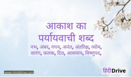 Aakash Ka Paryayvachi Shabd
